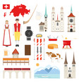 switzerland flat symbols collection vector image