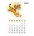 tiger wall calendar design template for april 2022 vector image