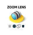 Zoom lens icon in different style vector image vector image