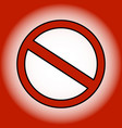 red prohibition sign on gradient background vector image