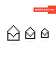 set of black editable pixel art envelopes vector image