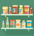 medicine bottles set in flat design vector image