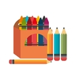 crayons box four pencil graphic vector image