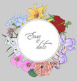 floral card wedding invitation hand draw of vector image