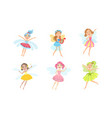 adorable happy little fairies set smiling vector image vector image