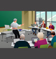 adults in a college classroom vector image vector image
