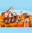 african safari travel tourists watching and vector image vector image