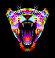 angry colorful liones on pop art style vector image