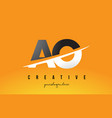 ao a o letter modern logo design with yellow vector image vector image