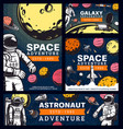 astronaut space adventure cosmonaut in outer space vector image vector image