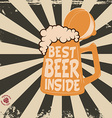 beer mug on retro background with sun rays vector image vector image