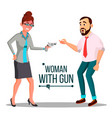 business woman with gun bankruptcy concept vector image