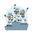 cartoon flat professional spacemans emotional vector image