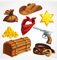 cartoon set cowboy things from american old vector image vector image