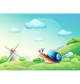 cheerful snail on a meadow vector image