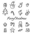 Christmas Outline Icons Set Monochrome vector image