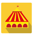 Circus pavilion yellow tent icon flat style with