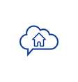cloud home icon computing concept vector image