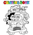coloring book with family in car vector image
