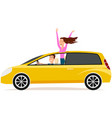 couple driving yellow automobile family travel vector image