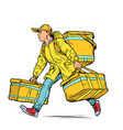 courier boy food delivery vector image vector image