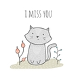 Cute hand drawn doodle card with a cat and flowers vector image vector image