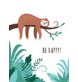 cute sloth is sleeping on branch tree vector image