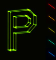 EPS10 glowing wireframe letter P - easy to change vector image vector image