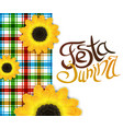 festa junina poster with lettering and sunflowers vector image