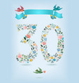 floral number thirty with ribbon and birds vector image