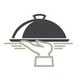 food delivery service icon of dish on hand vector image