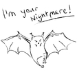 Funny bat with text vector image vector image