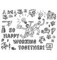 Happy business creative couple work monochrome vector image vector image