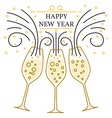 Happy new year greeting card EPS10 Champagne glas vector image