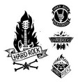 heavy rock music badge vintage label with vector image vector image