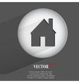 house Flat modern web button with long shadow and vector image vector image