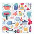 household supplies and cleaning set flat hand vector image vector image