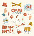icons set closed territory themed background vector image vector image