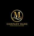 luxury letter m logo m gold logo design business vector image vector image