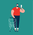 man checking shopping list and carrying shopping vector image