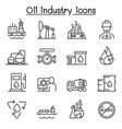 oil industry icon set in thin line style vector image
