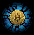 one golden bitcoin on abstract background vector image