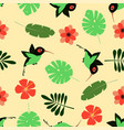 pattern with cartoon hummingbird vector image vector image