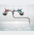 realistic bathroom faucet composition vector image vector image