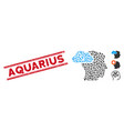 scratched aquarius line seal with collage vector image vector image