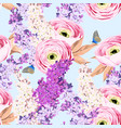 seamless pattern with ranunculus and lilac vector image vector image