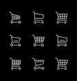 set line icons shopping cart isolated on black vector image