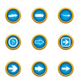 shunter icons set flat style vector image vector image
