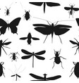 silhouettes set beetles dragonflies and vector image vector image