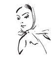sketching hand draw of woman in shawl vector image vector image